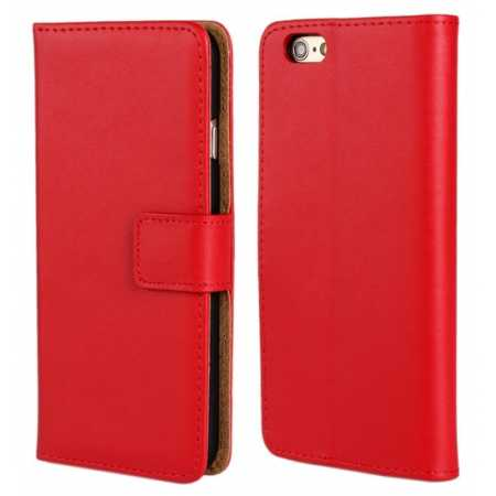 Genuine Leather Wallet Flip Case Cover For iPhone 6 Plus/6S Plus 5.5inch - Red