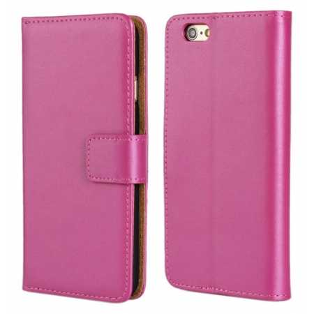 Genuine Leather Wallet Flip Case Cover For iPhone 6 Plus/6S Plus 5.5inch - Rose red