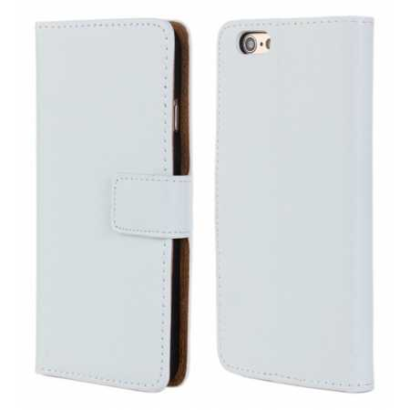 Genuine Leather Wallet Flip Case Cover For iPhone 6 Plus/6S Plus 5.5inch - White