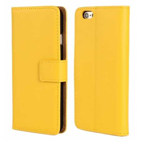 Genuine Leather Wallet Flip Case Cover For iPhone 6 Plus/6S Plus 5.5inch - Yellow