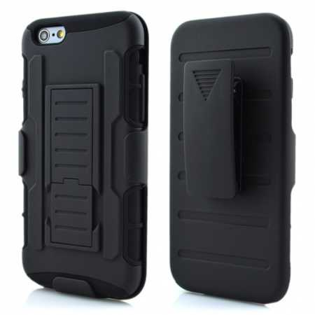 Hybrid Armor Impact Hybrid Holster Protector Combo Case Cover For iPhone 6/6S 4.7inch - Black