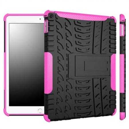 Durable ShockProof Hybrid Hard Stand TPU Case Cover For iPad Air 2 - Hot pink