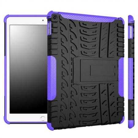 Durable ShockProof Hybrid Hard Stand TPU Case Cover For iPad Air 2 - Purple