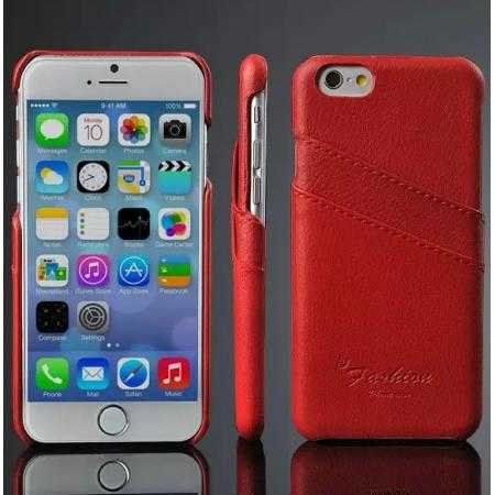 Litchi Genuine Leather Card Holder Hard Back Case Cover for iPhone 6 Plus/6S Plus 5.5 Inch - Red