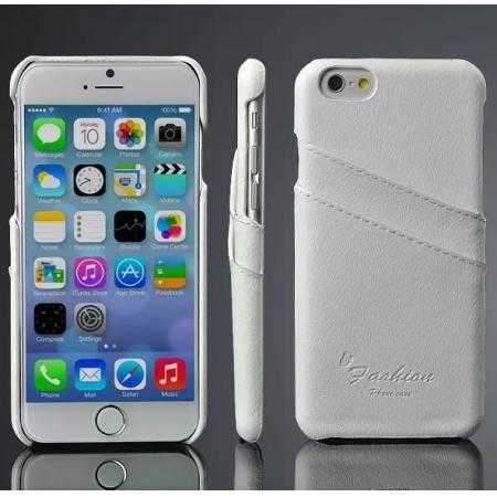 Litchi Genuine Leather Card Holder Hard Back Case Cover for iPhone 6 Plus/6S Plus 5.5 Inch - White