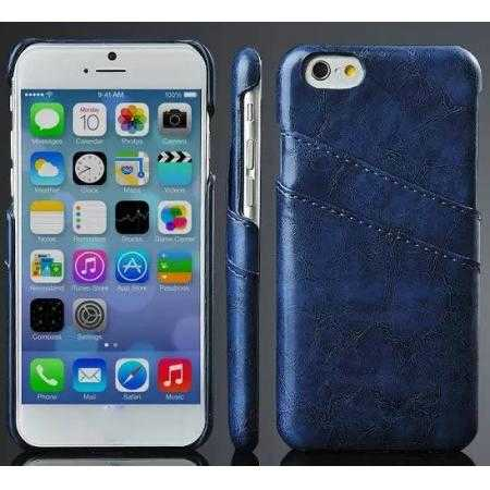 Oil Wax Leather Credit Card Holder Back Shell Case Cover for iPhone 6 Plus/6S Plus 5.5 Inch - Dark Blue