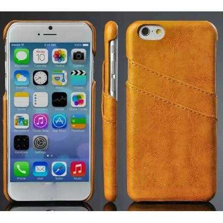 Oil Wax Leather Credit Card Holder Back Shell Case Cover for iPhone 6 Plus/6S Plus 5.5 Inch - Orange