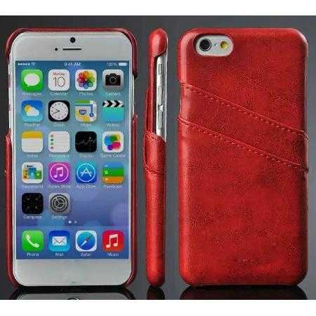 Oil Wax Leather Credit Card Holder Back Shell Case Cover for iPhone 6 Plus/6S Plus 5.5 Inch - Red