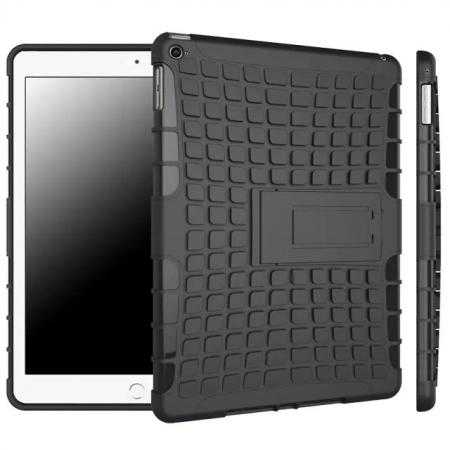 Shockproof TPU Hybrid Hard Kickstand Case Cover For iPad Air 2 - Black