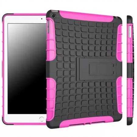 Shockproof TPU Hybrid Hard Kickstand Case Cover For iPad Air 2 - Hot pink