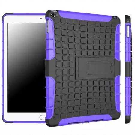 Shockproof TPU Hybrid Hard Kickstand Case Cover For iPad Air 2 - Purple
