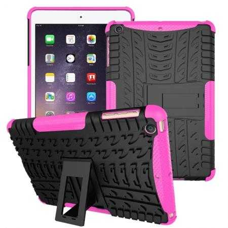 Durable ShockProof Hybrid Hard Stand TPU Case Cover For iPad mini 3/iPad mini 2 - Hot pink