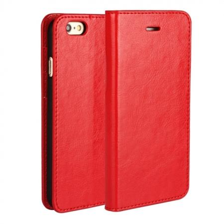 Crazy Horse Genuine Leather Wallet Stand Case for iPhone 6 Plus/6S Plus 5.5inch - Red