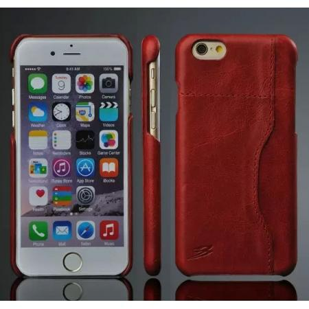 Genuine Cowhide Leather Back Case Cover for iPhone 6/6S 4.7 Inch With Credit Card holder - Red