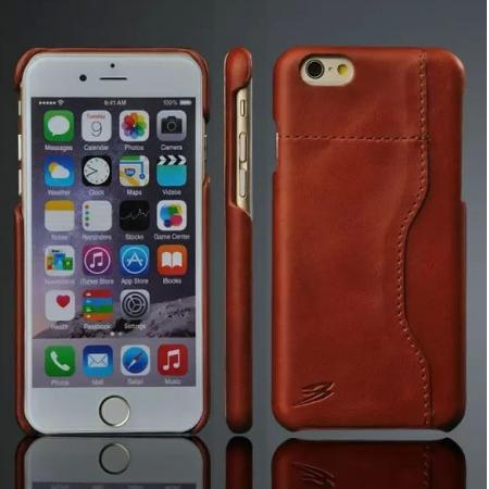 Genuine Cowhide Leather Back Case Cover for iPhone 6 Plus/6S Plus 5.5 Inch With Credit Card holder - Brown