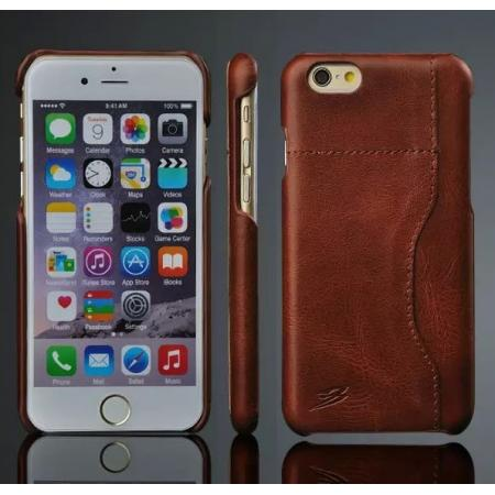 Genuine Cowhide Leather Back Case Cover for iPhone 6 Plus/6S Plus 7 7 Plus 8 Plus With Credit Card holder - Dark Brown