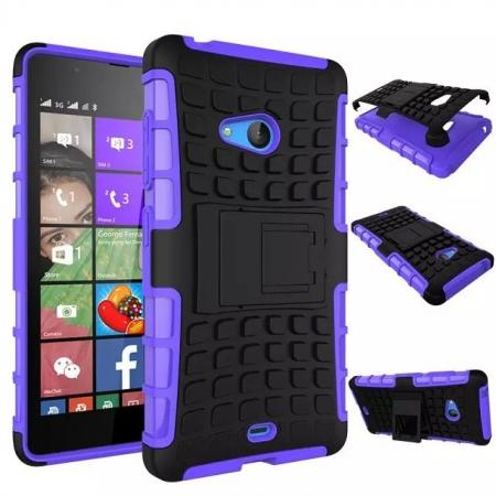 Shockproof Armor Design TPU Hard Case Cover Stand for Microsoft Lumia 540 - Purple