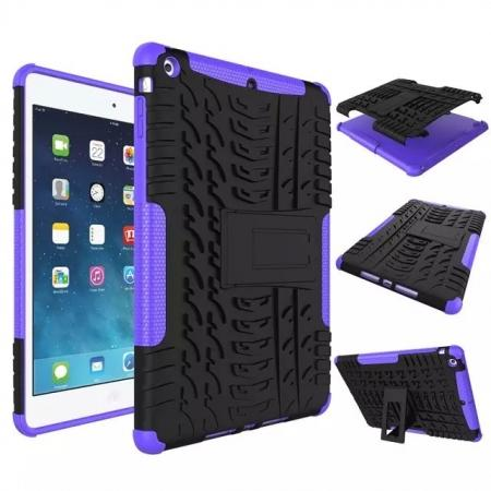 Hyun Pattern Dual Layer Hybrid Protective Case with Stand For iPad AIR/iPad 5 - Purple