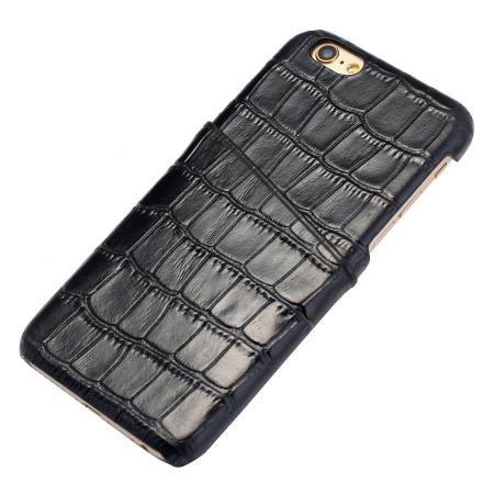 Crocodile Pattern Genuine Real Leather Back Cover Case for iPhone 6/6S 4.7inch - Black
