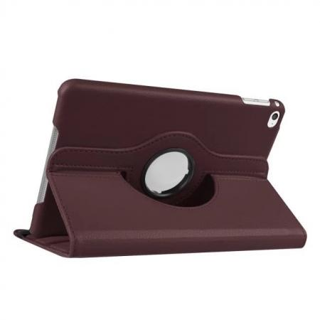 360 Degrees Rotating Smart Stand Leather Case For iPad mini 4 - Brown