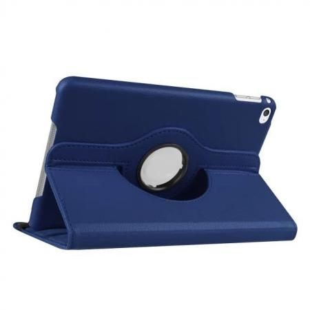 360 Degrees Rotating Smart Stand Leather Case For iPad mini 4 - Dark blue