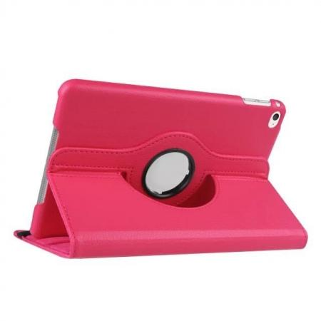 360 Degrees Rotating Smart Stand Leather Case For iPad mini 4 - Hot pink