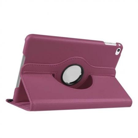 360 Degrees Rotating Smart Stand Leather Case For iPad mini 4 - Purple