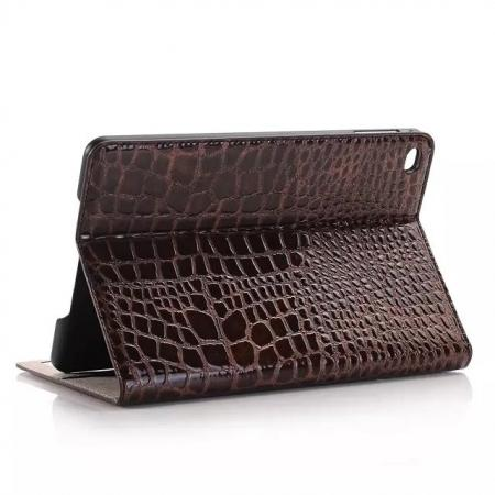 Crocodile Pattern PU Leather Wallet Stand Case for iPad Mini 4 - Brown