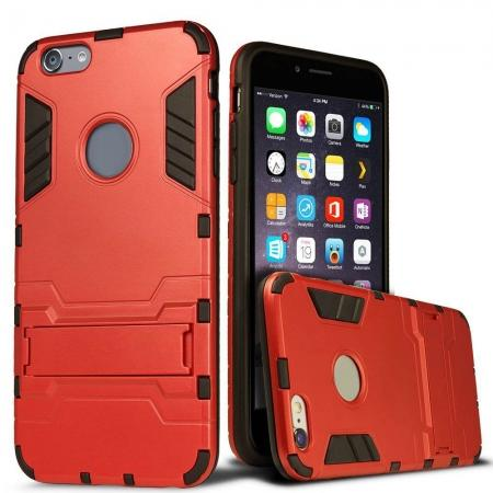 Hybrid Dual Layer Armor Shockproof Case with Stand For iPhone 6 4.7inch - Red