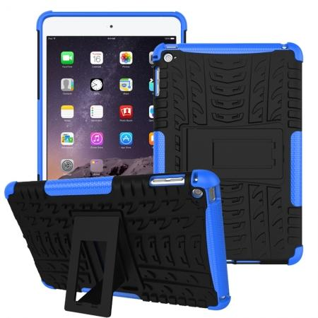Hyun Pattern Dual Layer Hybrid ShockProof Case Cover For iPad mini 4 - Blue