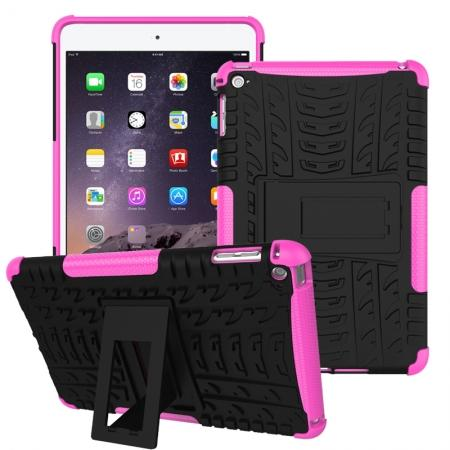 Hyun Pattern Dual Layer Hybrid ShockProof Case Cover For iPad mini 4 - Hot pink