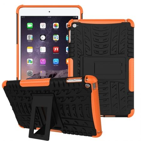 Hyun Pattern Dual Layer Hybrid ShockProof Case Cover For iPad mini 4 - Orange