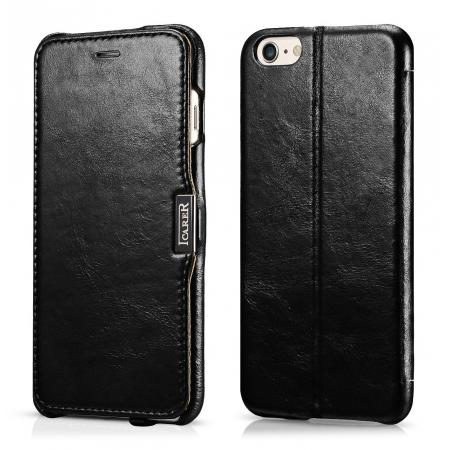 Luxury ICARER Vintage Series Cowhide Genuine Leather Wallet Case For iPhone 6 Plus/6S Plus 5.5 Inch - Black