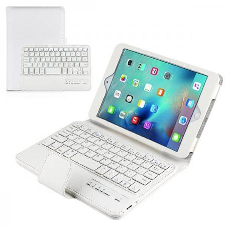 Removable Detachable Wireless Bluetooth Keyboard PU Leather Case Tablet Stand for iPad Mini 4 - White