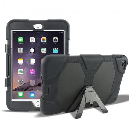 Rugged Dual Layer ShockProof Protect Case Cover For iPad mini 4 - Black