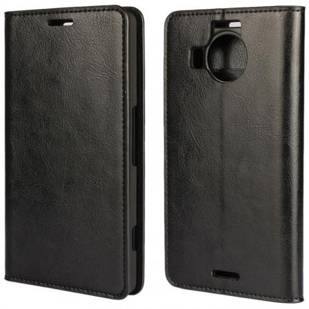 Crazy Horse Genuine Leather Wallet Case for Microsoft Lumia 950XL with Card Slots - Black