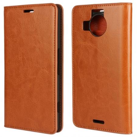 Crazy Horse Genuine Leather Wallet Case for Microsoft Lumia 950XL with Card Slots - Brown