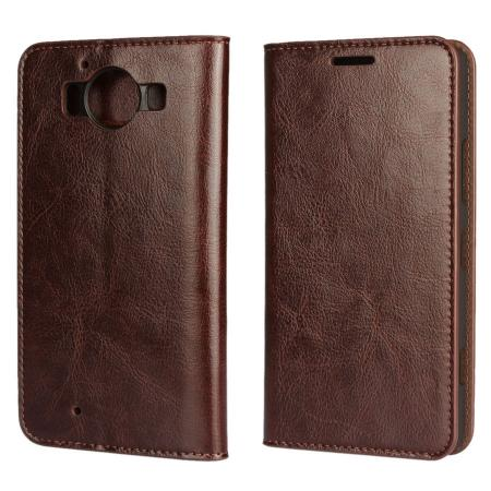 Crazy Horse Texture Flip Stand Genuine Leather Case for Microsoft Lumia 950 with Card Slots - Coffee