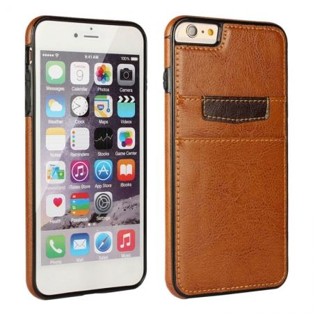 Genuine Leather Back Cover Credit Card Holder Case For iPhone 6/6S 4.7 Inch - Brown