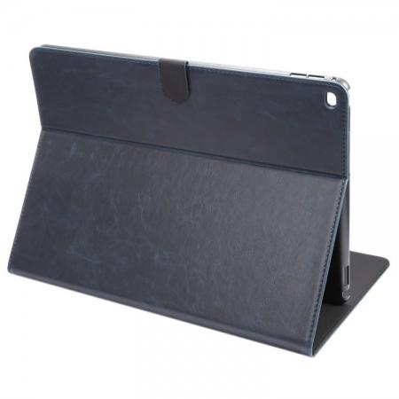 Luxury Crazy Horse Leather Stand Cover Case Card Holder for iPad Pro 12.9inch - Dark Blue
