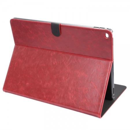 Luxury Crazy Horse Leather Stand Cover Case Card Holder for iPad Pro 12.9inch - Wine Red