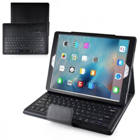 Removable Detachable Wireless Bluetooth Keyboard PU Leather Stand Case for iPad Pro 12.9Inch - Black