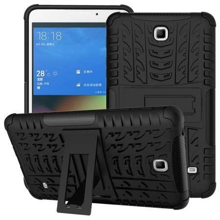 Rugged Hybrid Dual Layer Case with Kickstand for Samsung Galaxy Tab 4 7.0 T230 - Black