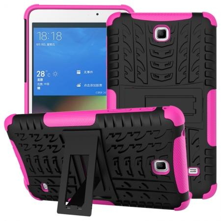 Rugged Hybrid Dual Layer Case with Kickstand for Samsung Galaxy Tab 4 7.0 T230 - Hot pink