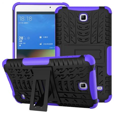 Rugged Hybrid Dual Layer Case with Kickstand for Samsung Galaxy Tab 4 7.0 T230 - Purple