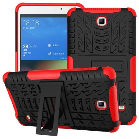 Rugged Hybrid Dual Layer Case with Kickstand for Samsung Galaxy Tab 4 7.0 T230 - Red