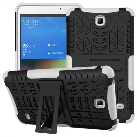 Rugged Hybrid Dual Layer Case with Kickstand for Samsung Galaxy Tab 4 7.0 T230 - White