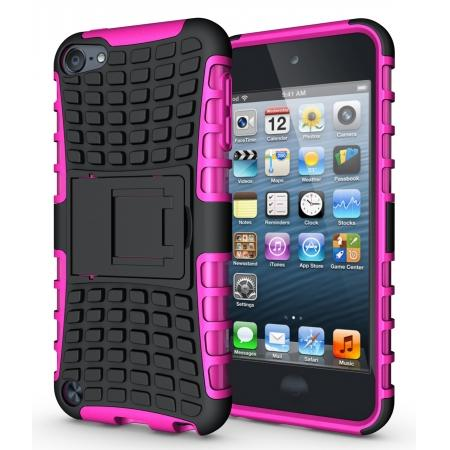 Shockproof Dual Layer Hybrid Armor Kickstand Case For Apple iPod Touch 5th Gen - Hot pink