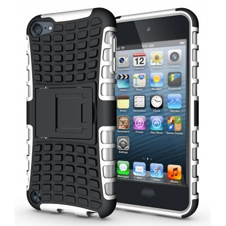 Shockproof Dual Layer Hybrid Armor Kickstand Case For Apple iPod Touch 5th Gen - White