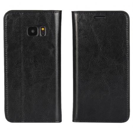 Crazy Horse Genuine Leather Flip Wallet Stand Case for Samsung Galaxy S7 Edge G935 with Card Slots - Black